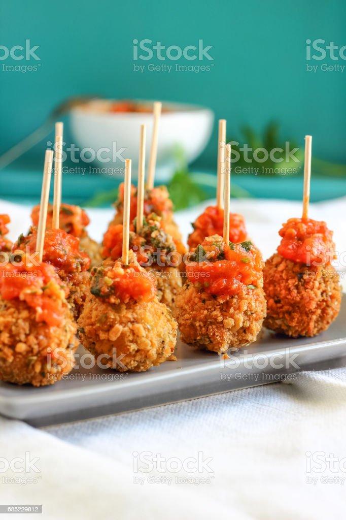 Breaded Mozzarella Cheese Balls - Party Appetizers stock photo