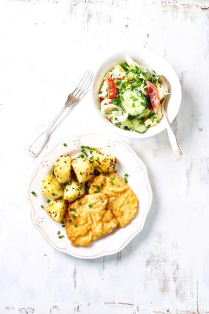 paniertes schweineschnitzel mit bratkartoffeln und salat; polnische küche - kürbisschnitzel stock-fotos und bilder