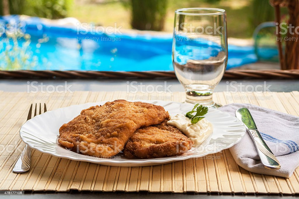 Breaded Poultry fillet served outdoor stock photo