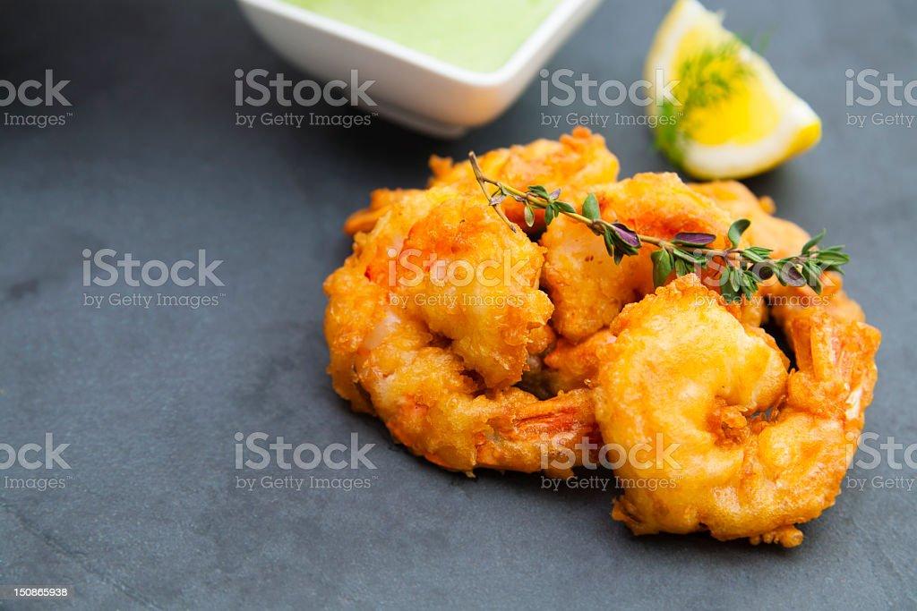 Breaded shrimps stock photo
