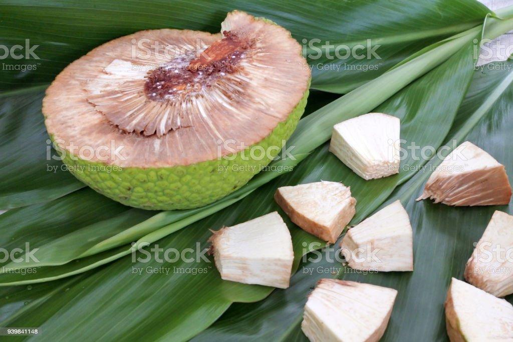 Breadfruit slices in Rarotonga Cook Islands stock photo
