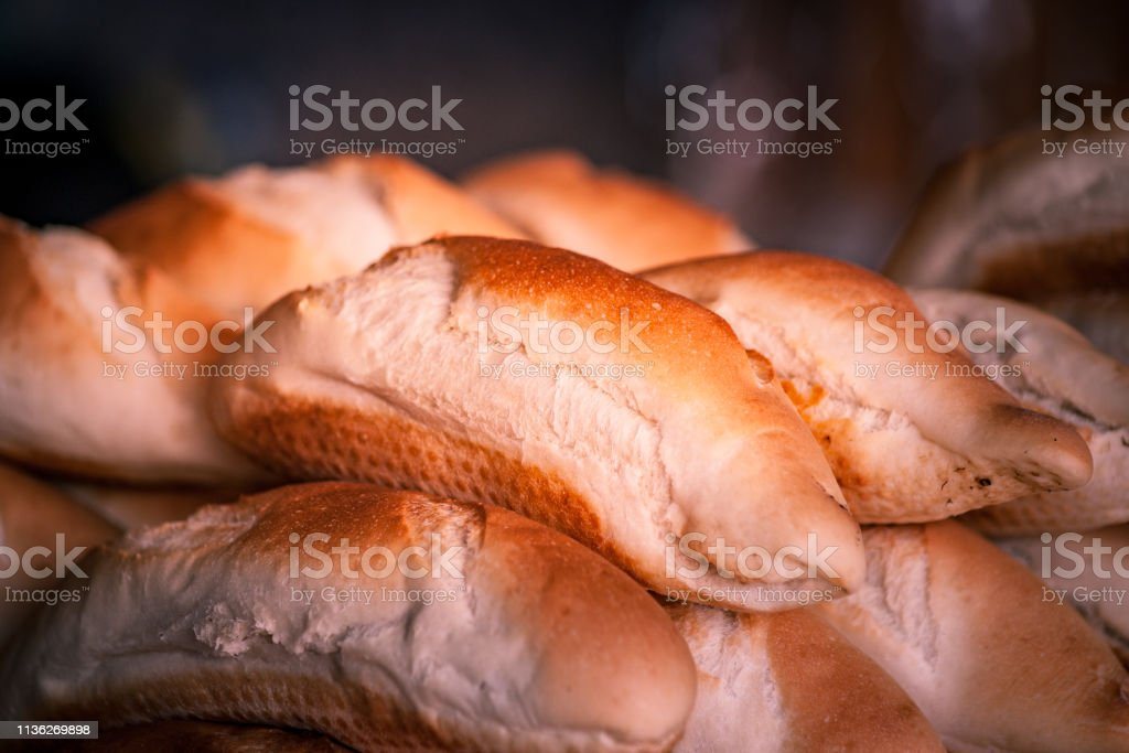 Breads and baked goods close-up. stock photo