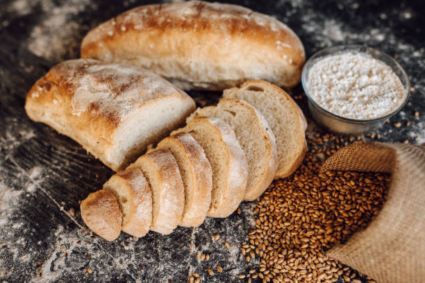 Breads and grain on the table stock photo