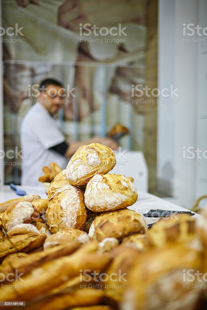 Breads close up with man on background stock photo