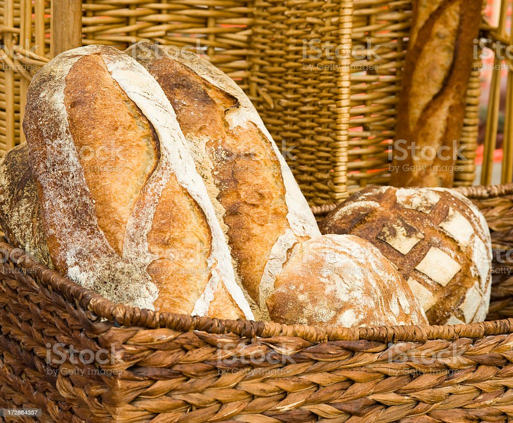 Breads in busket stock photo