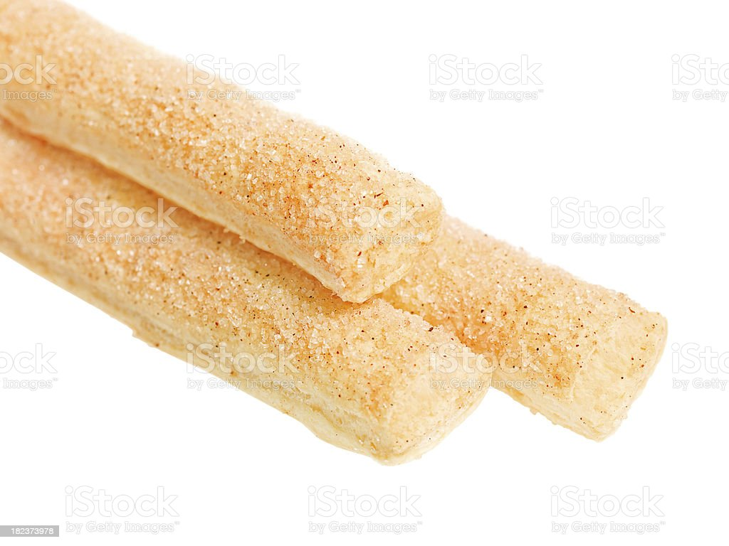 Breadsticks with sugar stock photo