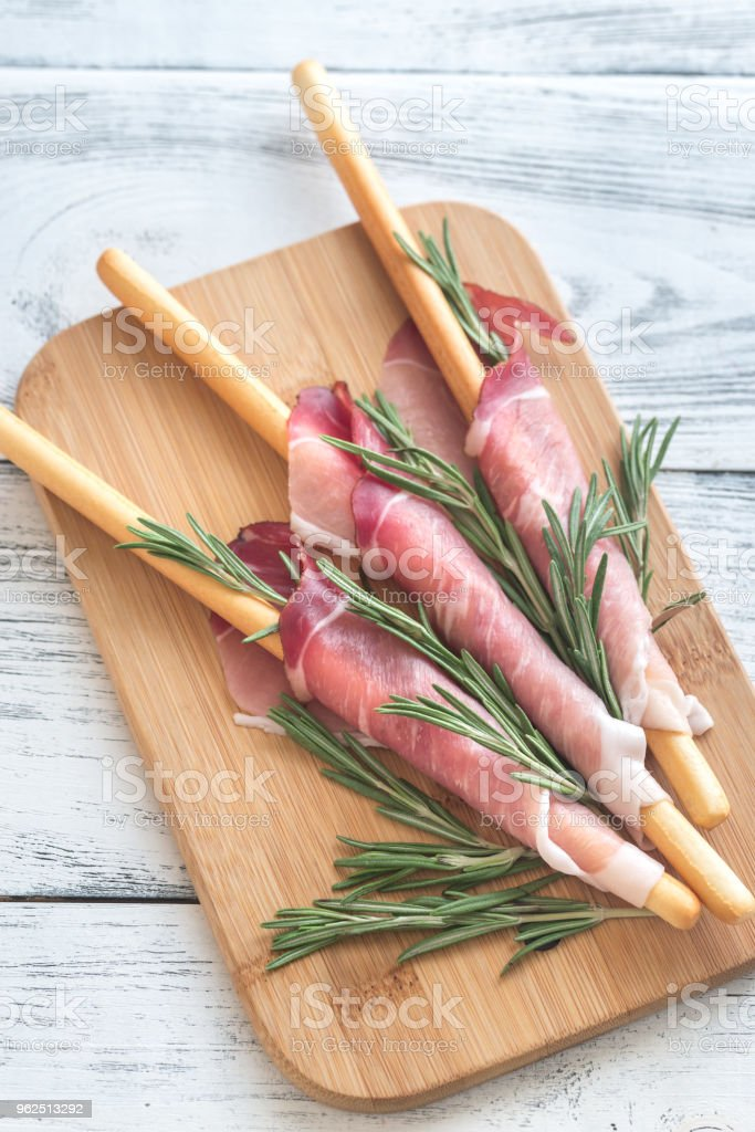 Breadsticks wrapped in ham - Royalty-free Appetizer Stock Photo
