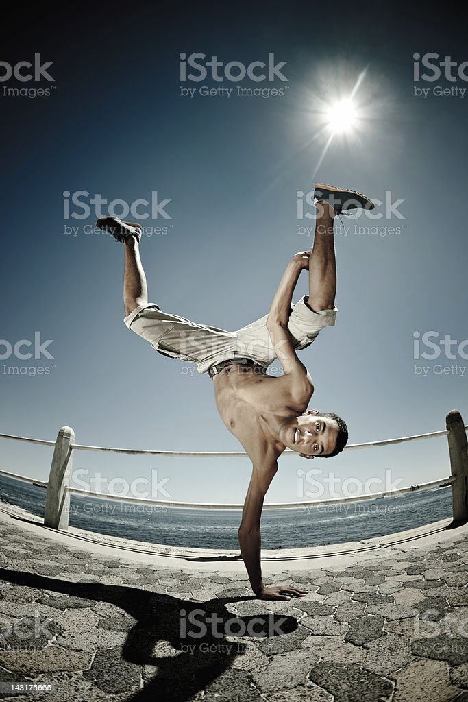 Break Dancer Action Waterfront Promenade royalty-free stock photo