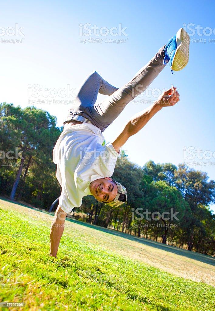Break dancer in the park stock photo