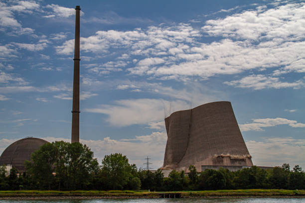 break down of the cooling tower of the closed down nuclear power plant