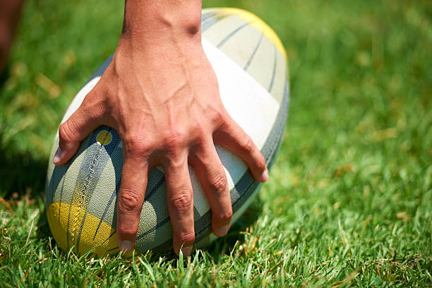 pause engage - rugby ball stock photos and pictures