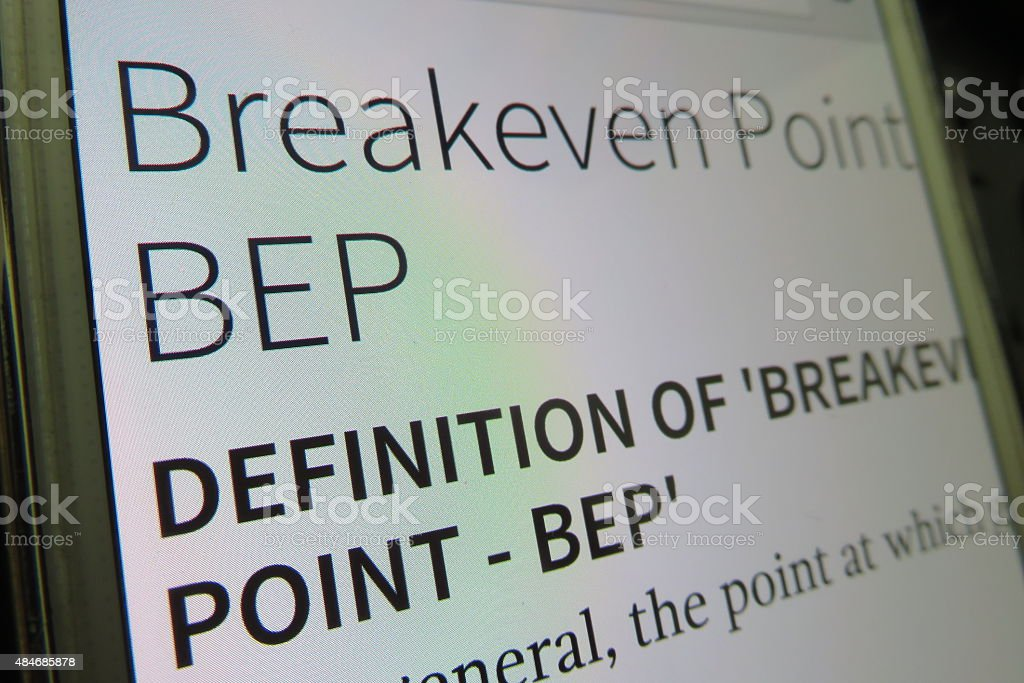 break even point definition stock photo