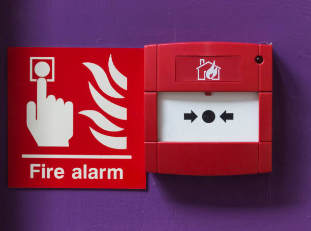 Break glass fire alarm stock photo