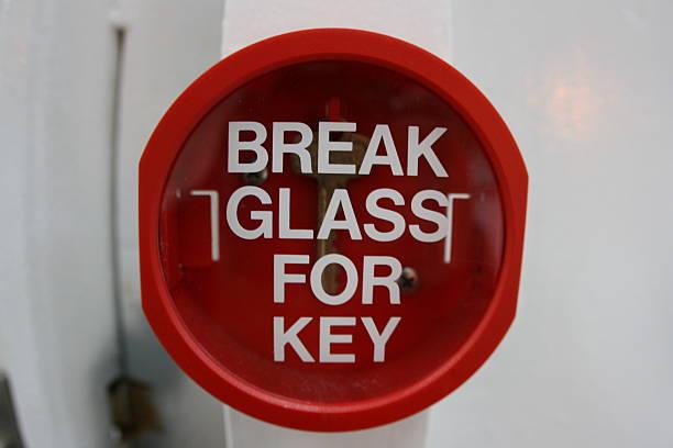 Break Glass For Key stock photo