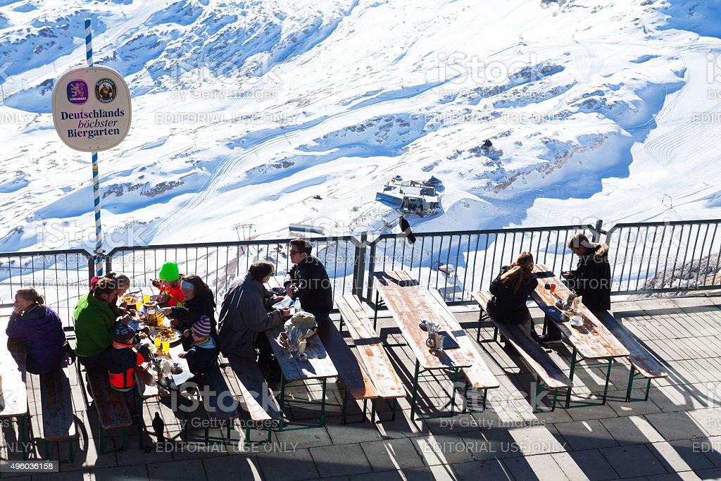 Break in beer garden of Zugspitze stock photo