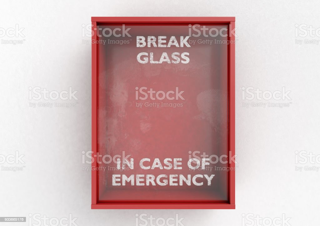 Break In Case Of Emergency Red Box stock photo