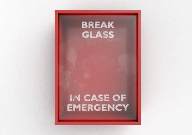 Apertura en caso de emergencia rojo caja - foto de stock