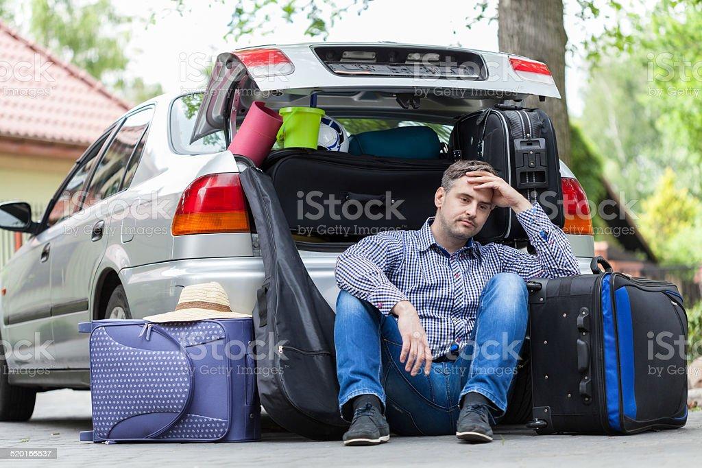 Break in packing stuff for trip stock photo