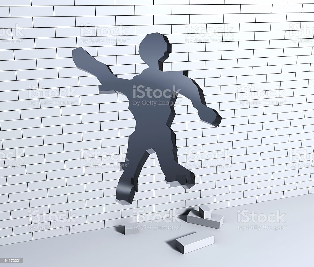 Break in the wall royalty-free stock photo