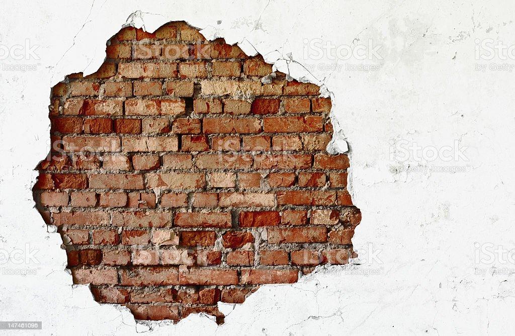 Break on the white wall - old brickwork stock photo