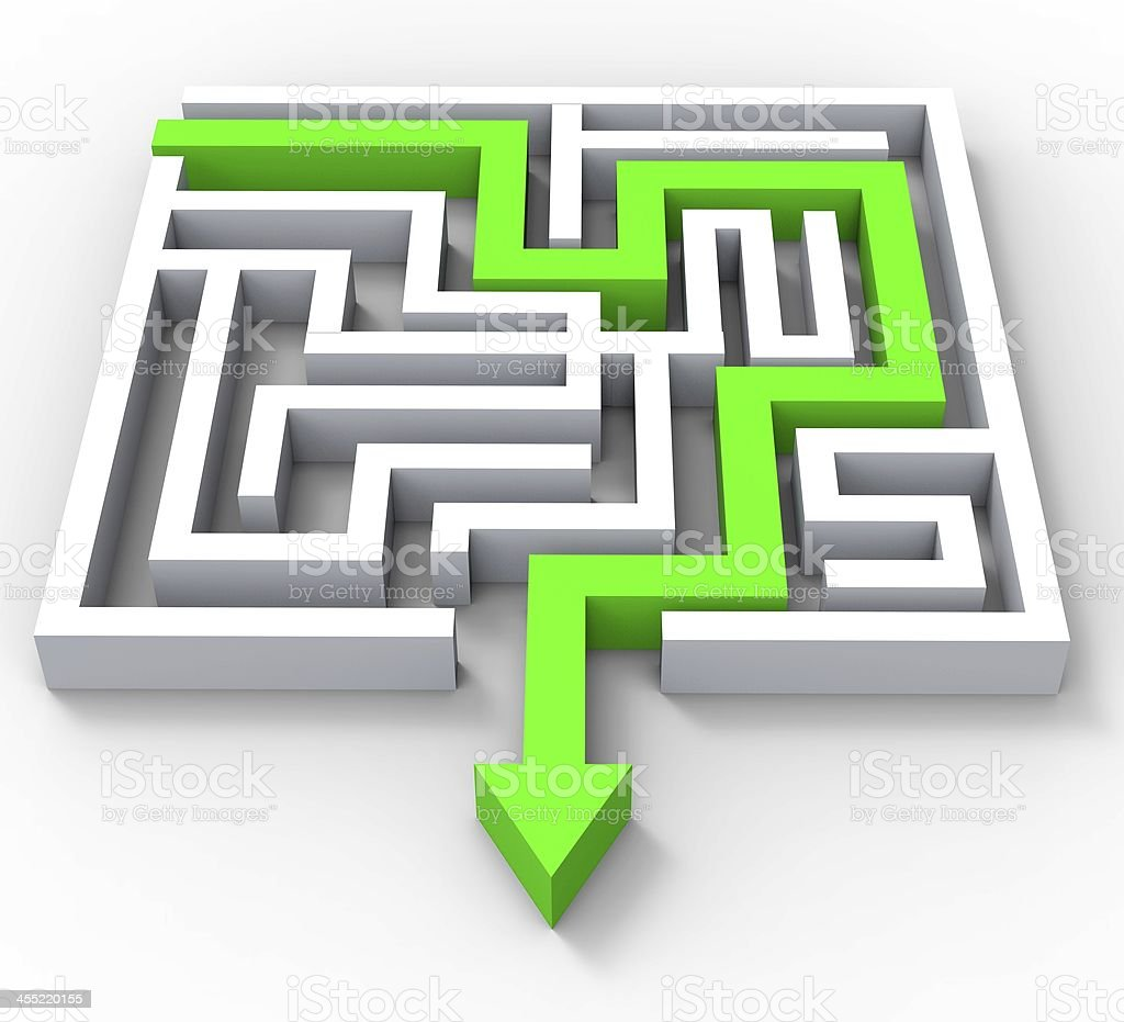 Break Out Of Maze Showing Puzzle royalty-free stock photo