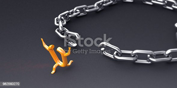 An oranged colored chain link which succeed in breaking the chains and running to the freedom on the gray background. Can be used individuality and freedom concepts.