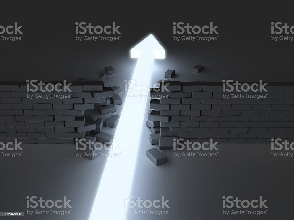 Break Through 2 Glowing arrow breaking through brick wall. Closer perspective. Abstract Stock Photo