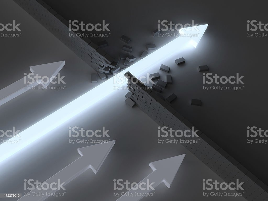 Break Through 4 Glowing arrow breaking through brick wall before others can reach it. Arrow Symbol Stock Photo
