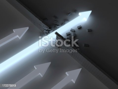 Glowing arrow breaking through brick wall before others can reach it.