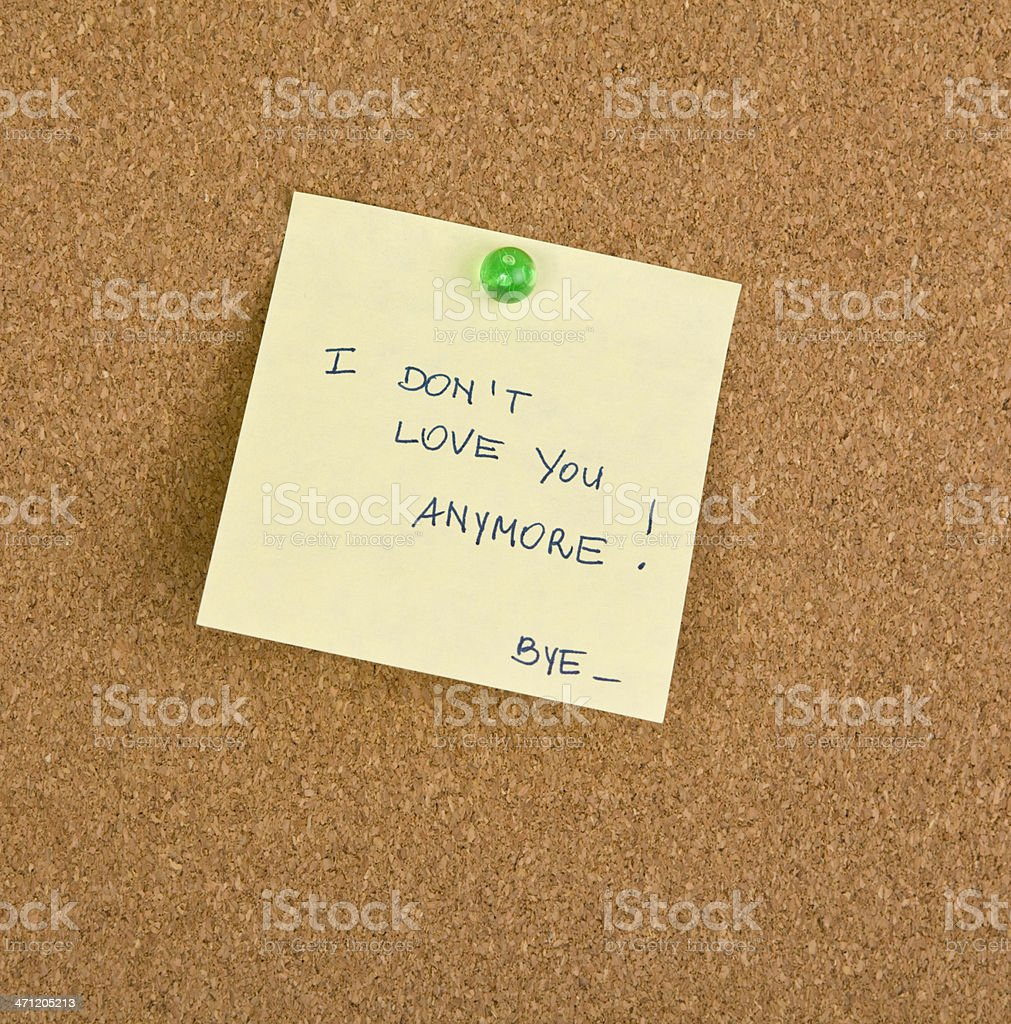 Break up on  Postit royalty-free stock photo