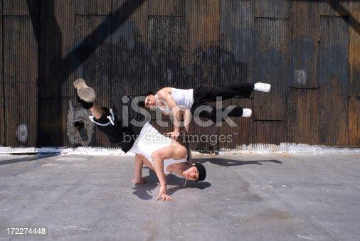 Professional break-dancers on a Manhattan rooftop