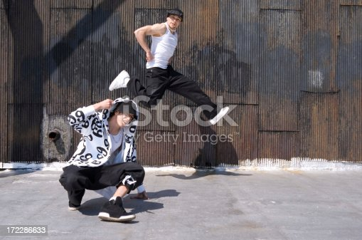 professional breakdancers on a Manhattan rooftop