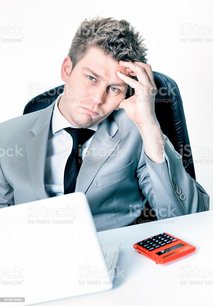 breakdown of businessman at the office stock photo