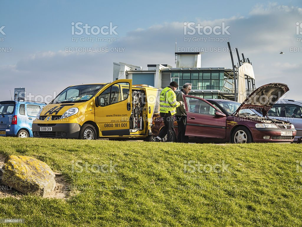 AA breakdown patrol in action royalty-free stock photo