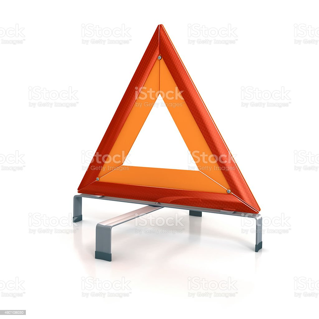 Breakdown Warning triangle isolated on white -clipping path stock photo