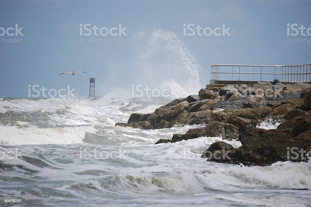 Breakers on the Jetty stock photo