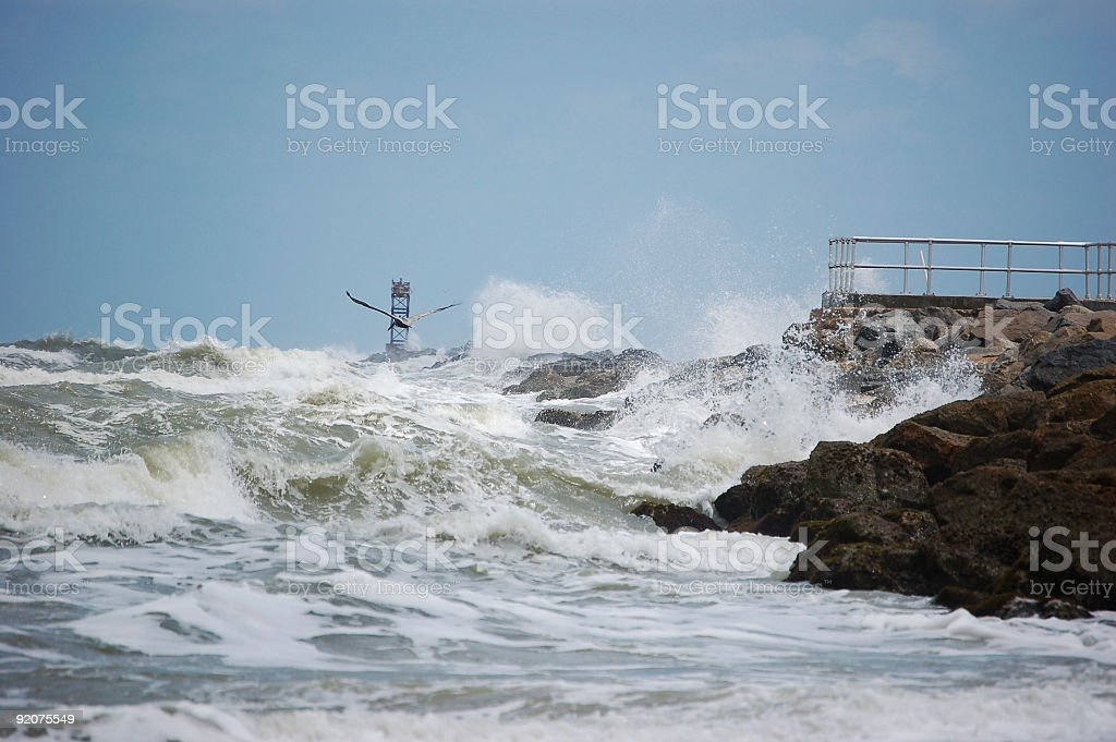 Breakers on the Jetty royalty-free stock photo