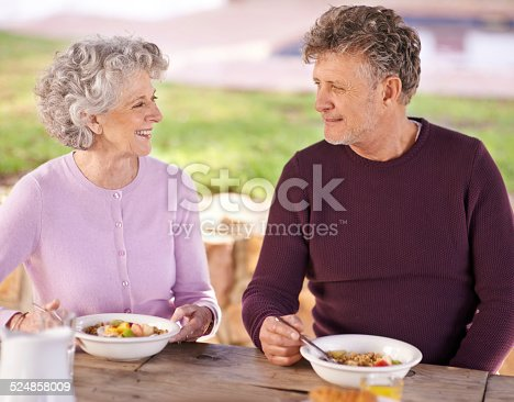 Shot of a senior couple having breakfast together outside