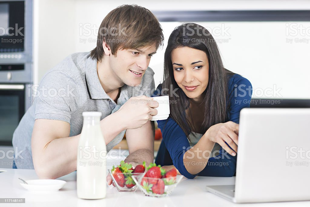 Breakfast and Internet royalty-free stock photo