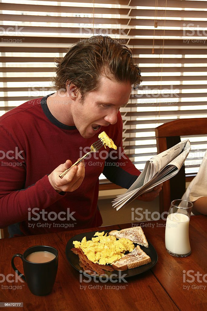Breakfast and Newspaper royalty-free stock photo