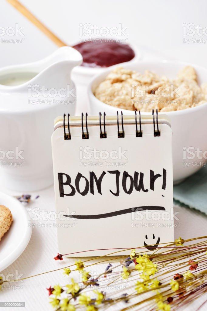 Frühstück Und Text Französisch Guten Morgen In Stockfoto Und