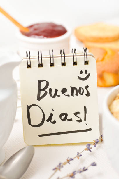 breakfast and text good morning in Spanish stock photo