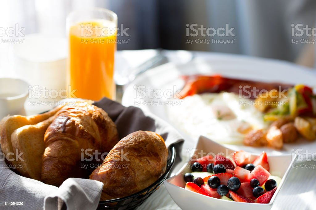breakfast at hotel stock photo