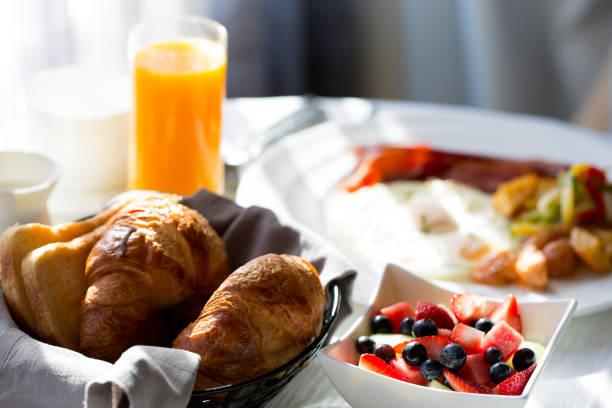 breakfast at hotel stock photo