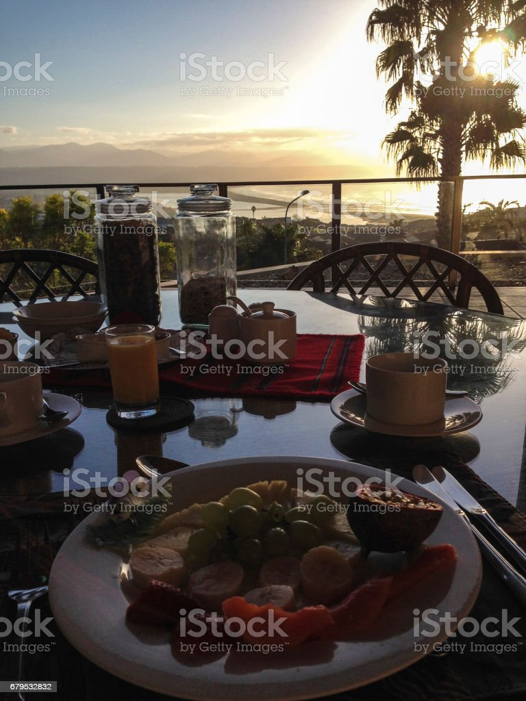 Breakfast at Plattenberg Bay, South Africa stock photo