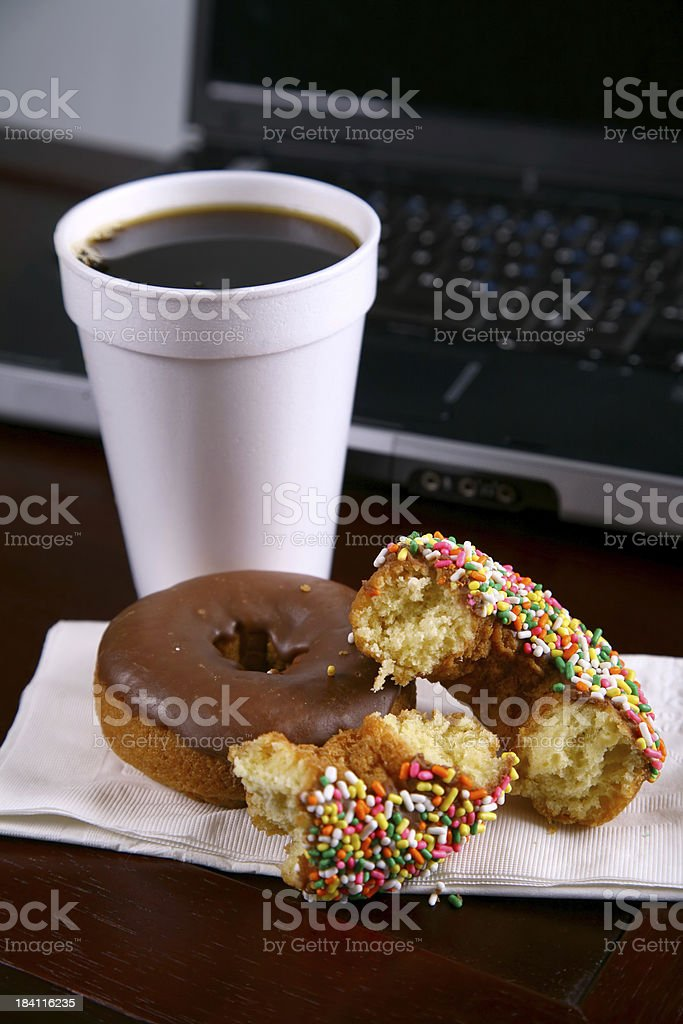 Breakfast at the office royalty-free stock photo
