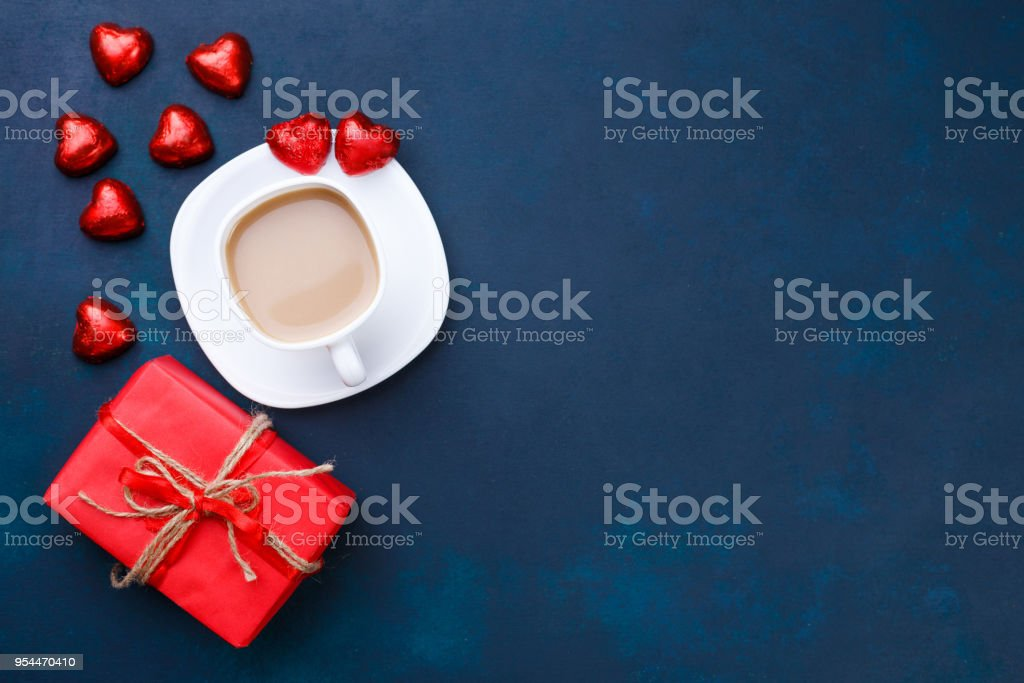 Breakfast at Valentine's Day. Cup of coffee with heart shaped ch stock photo