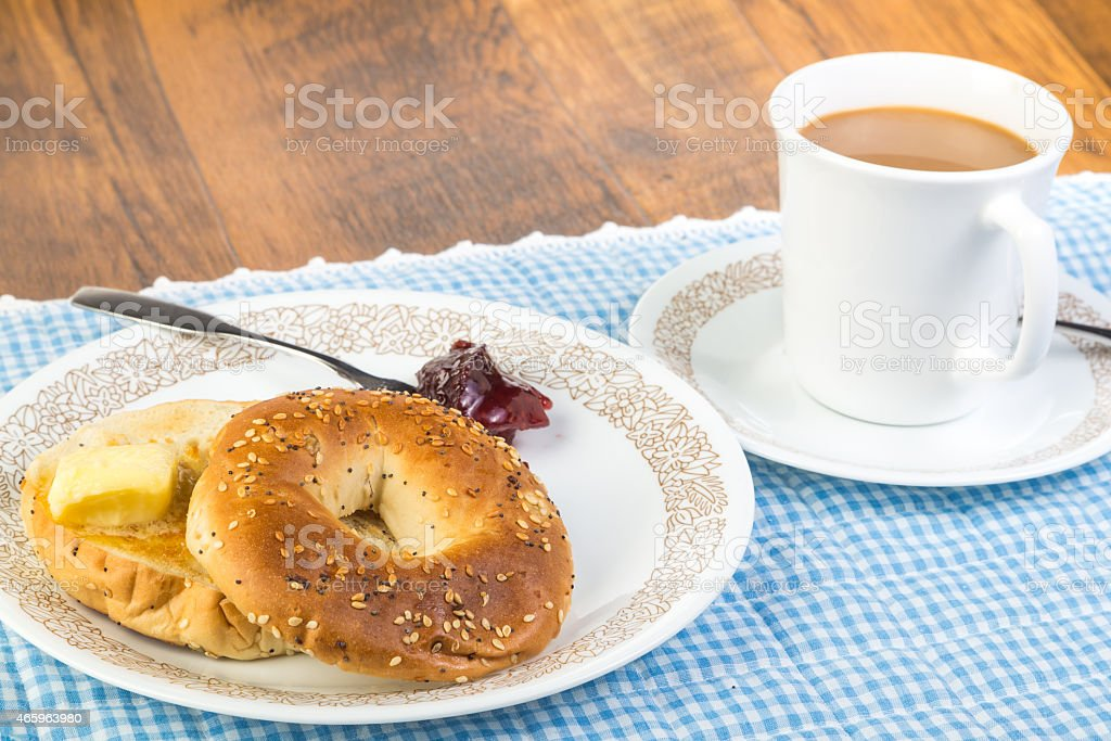 Breakfast Bagel and Coffee stock photo