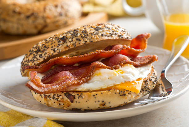 Breakfast Bagel stock photo