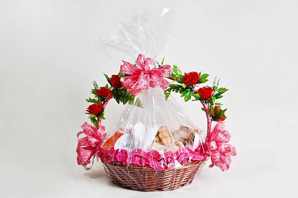 Breakfast basket gift stock photo